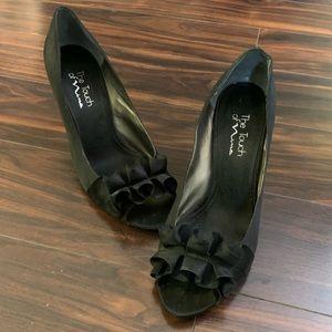 Nina Black Peep Toe Heels with Ruffle (10)